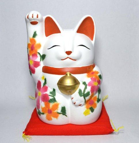 常滑焼 招き猫 ちぎり絵和紙 萬助猫 高さ17cm