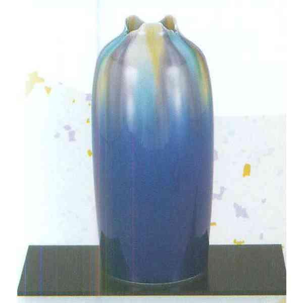九谷焼 N23-01 木台付 花瓶 8号 釉彩 11×25.5cm 木箱