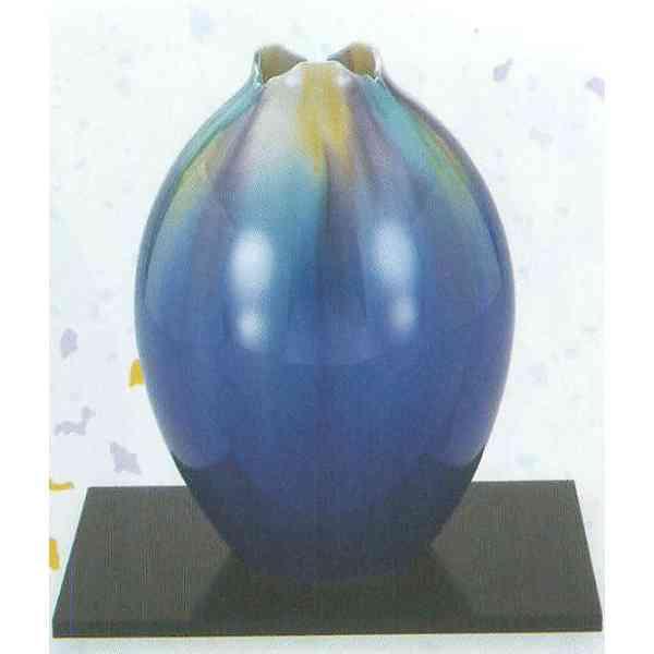 九谷焼 N23-03 木台付 花瓶 8号 釉彩 17.5×25cm 木箱