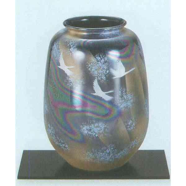 九谷焼 N23-06 木台付 花瓶 8号 虹鶴 17×24.5cm 化粧箱