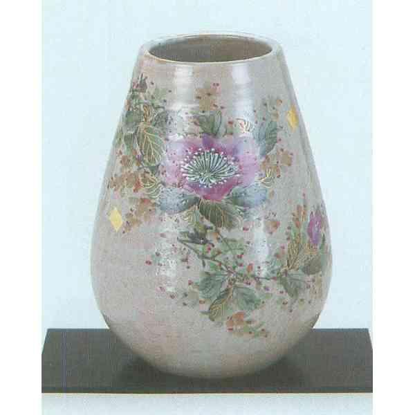 九谷焼 N23-09 木台付 花瓶 8号 色山茶花 17.5×24.5cm 木箱