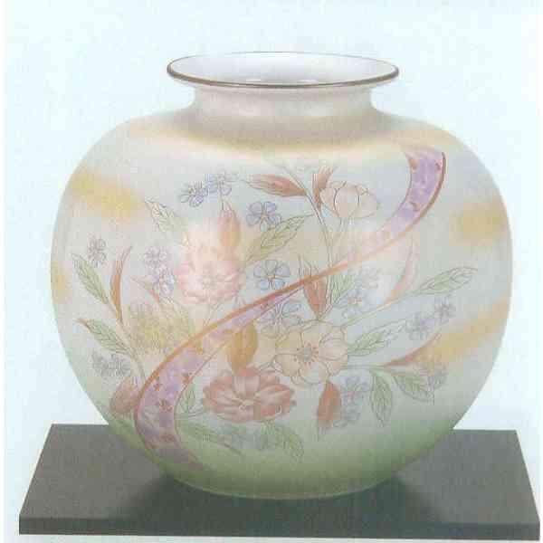 九谷焼 N24-02 木台付 花瓶 7号 洋花 22×20.5cm 化粧箱