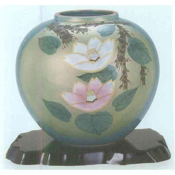 九谷焼 N25-01 木台付 花瓶 7号 紅白山茶花 22.5×21cm 化粧箱