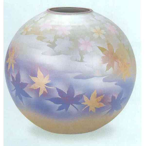 九谷焼 N25-06 花瓶 7号 春秋 21.5×20.5cm 木箱