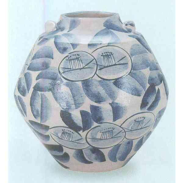 九谷焼 N25-07 花瓶 7号 染付椿文 21×21.5cm 木箱