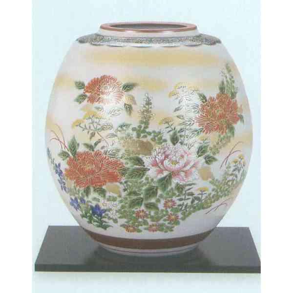 九谷焼 N27-06 木台付 花瓶 8号 金彩四君子 22.5×26cm 化粧箱