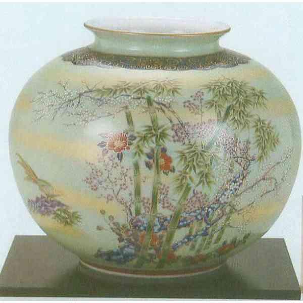 九谷焼 N28-03 木台付 花瓶 8号 竹雉 24×21.5cm 木箱