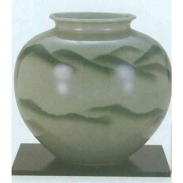 九谷焼 N28-05 木台付 花瓶 8号 青磁山 24.5×24cm 木箱