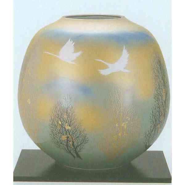 九谷焼 N28-07 木台付 花瓶 8号 双鶴木立 24×24cm 木箱