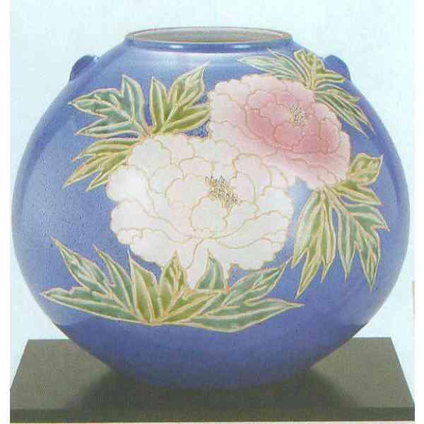 九谷焼 N29-03 木台付 花瓶 8号 青釉牡丹 24.5×22cm 木箱