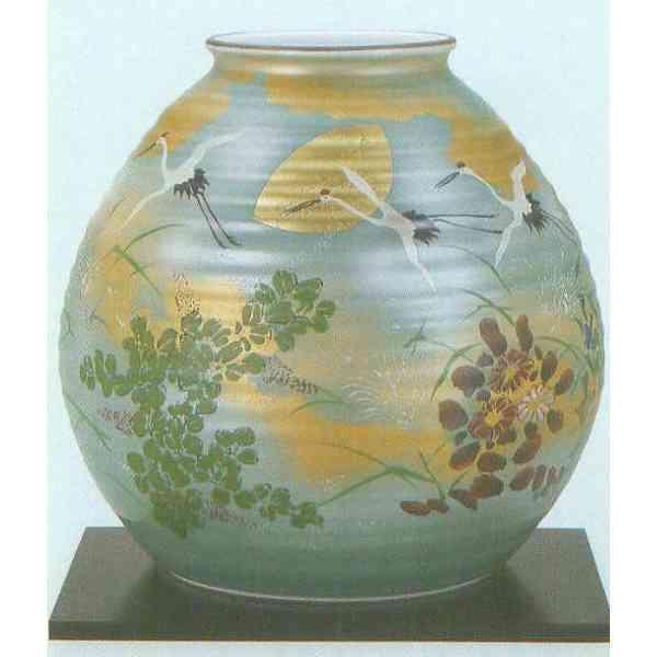九谷焼 N29-08 木台付 花瓶 8号 金箔秋月文 24×24.5cm 木箱