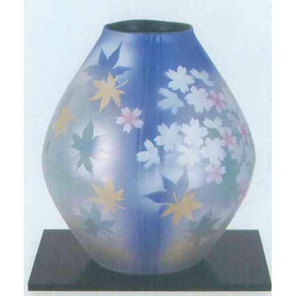 九谷焼 N30-02 木台付 花瓶 9号 春秋 22×26.5cm 木箱