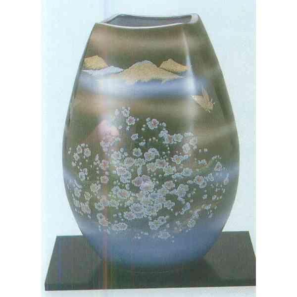 九谷焼 N31-01 木台付 花瓶 10号 オリベかすみ草 21×30.5cm 木箱
