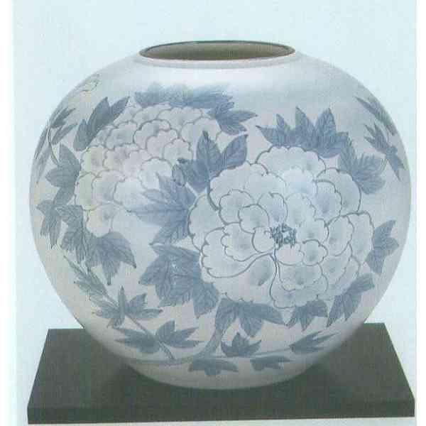 九谷焼 N31-05 木台付 花瓶 10号 吹墨牡丹 31×27.5cm 木箱