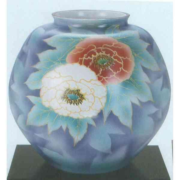 九谷焼 N32-01 木台付 花瓶 10号 紅白牡丹 31×30cm 木箱