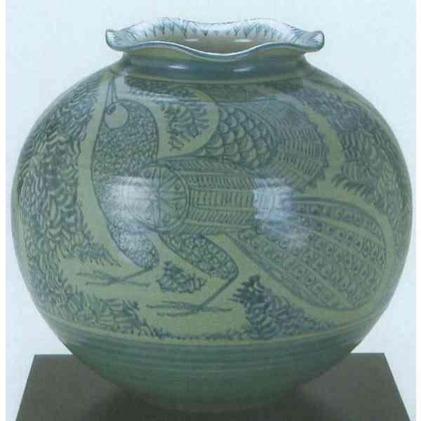九谷焼 N32-03 木台付 花瓶 10号 鳥唐草 31×30cm 木箱