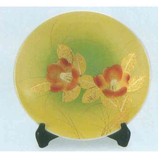 九谷焼 N34-08 飾皿 10号 金箔山茶花 30.5×4.5cm 木箱