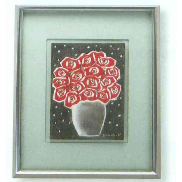 九谷焼 N91-05 陶額 アルミ額シリーズ 赤いバラ ガラス付 44.8×35.7cm