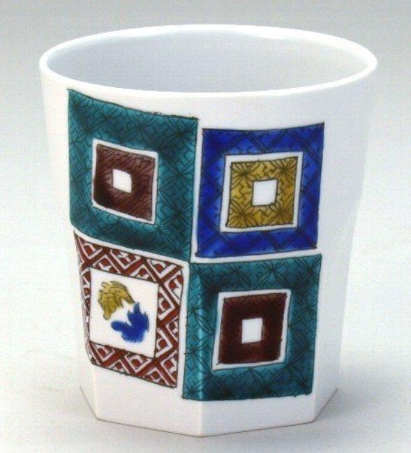 石川県伝統工芸九谷焼 ロックカップ 白九 石畳 <ギフト プレゼント 誕生日 お祝い 敬老の日 父の日 母の日 内祝い>