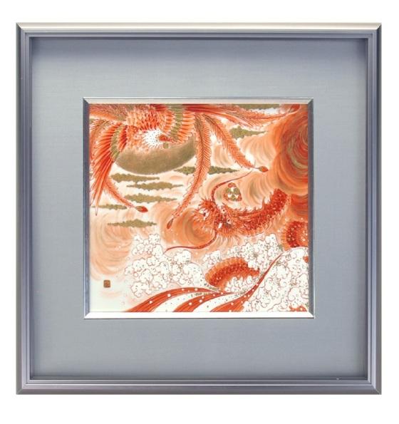 九谷焼 陶額 ステンレス額デラックスシリーズ 赤絵鳳凰昇龍文 ガラス付 40.8×44cm