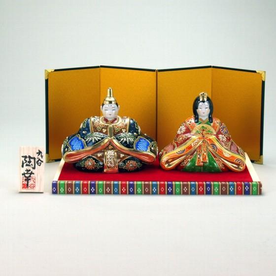 九谷焼 雛人形 5号 鹿の子盛 台・敷物・屏風・木札付 10×15.5×12cm 化粧箱