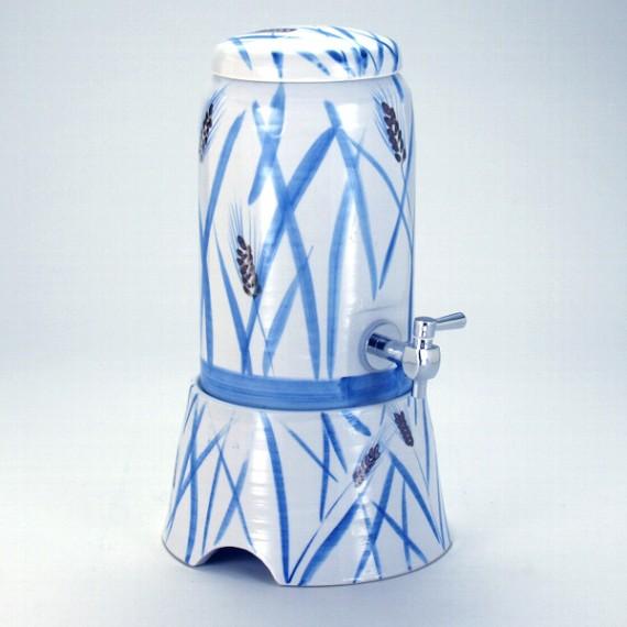 九谷焼  焼酎サーバー 麦の図 伝統工芸士 坂井秀善14×23.5cm 2200cc 化粧箱