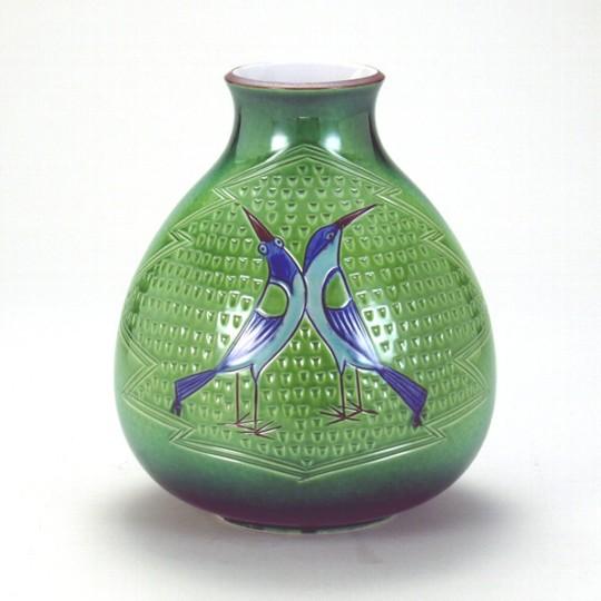 九谷焼  7号花瓶 彫刻双鳥 木箱入<九谷焼 和食器 鉢 小鉢 人気 ギフト セット 贈り物 結婚祝い/内祝い/お返し>
