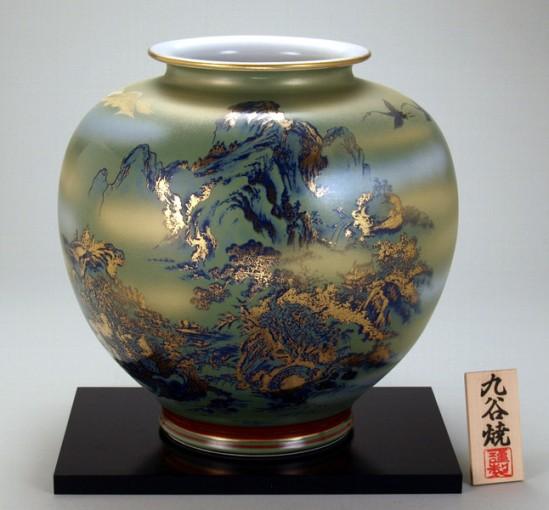 九谷焼10号花瓶 銀吹金山水 木箱入