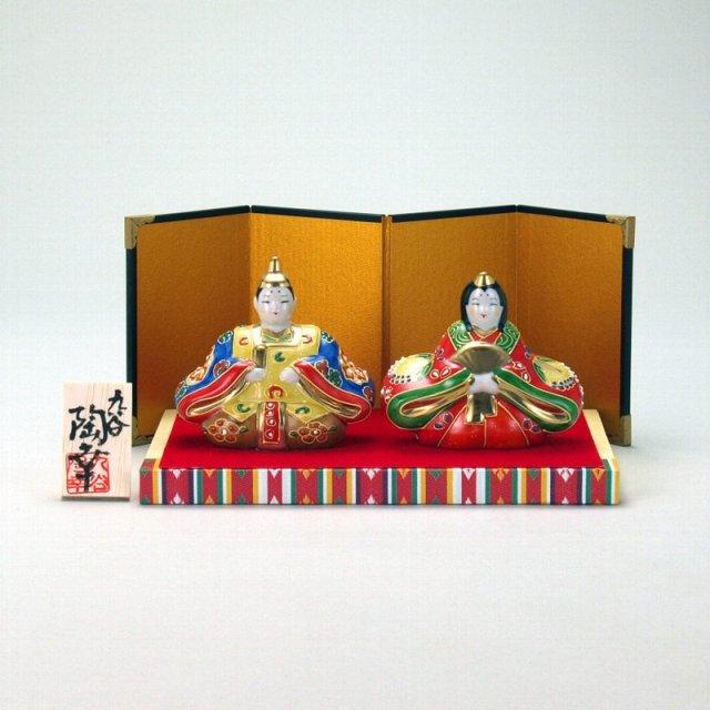 九谷焼 雛人形 3号 盛 台・敷物・屏風・木札付 6.5×9.5×9cm