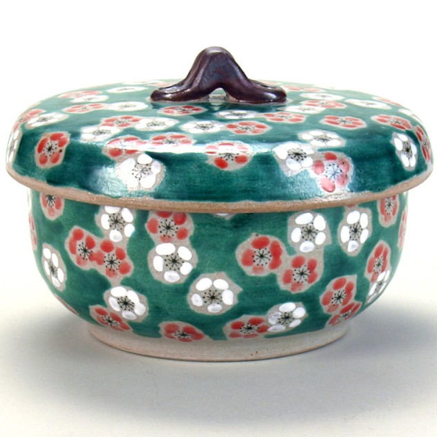 九谷焼 ご飯がくっつきにくい魔法のおひつ(蓋付レンジ鉢) 緑彩紅白梅 紙箱