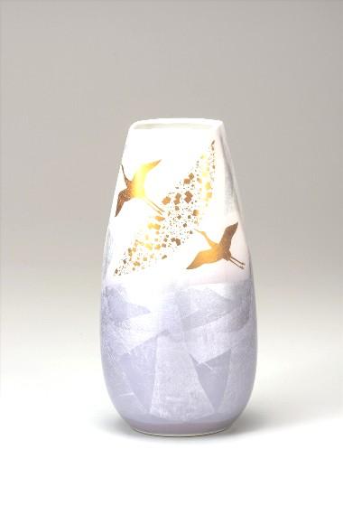 九谷焼 花瓶 10号 銀彩飛翔 φ15.5×30.5cm <九谷焼 和食器 鉢 小鉢 人気 ギフト セット 贈り物 結婚祝い/内祝い/お返し>