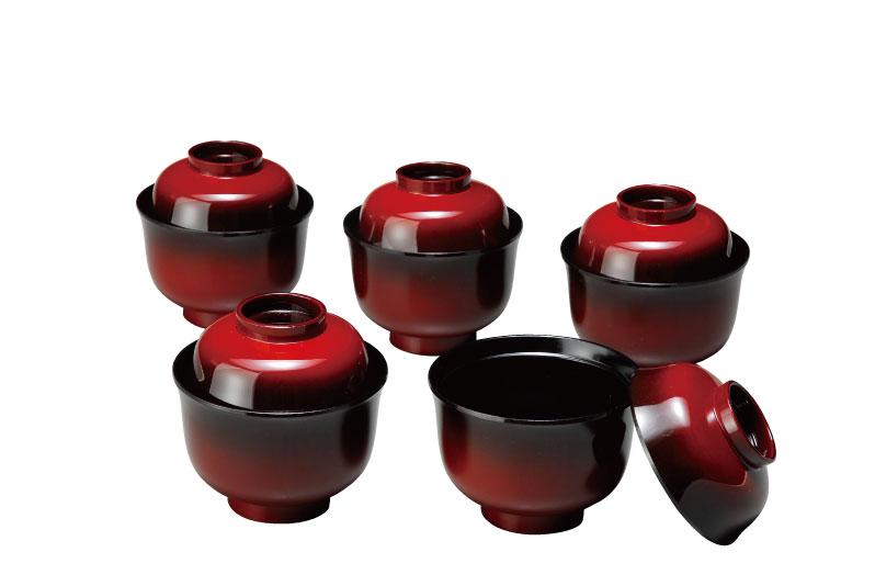 紀州漆器 3.2 吸物椀(小)塗り分 篁(5客入)食洗器OK