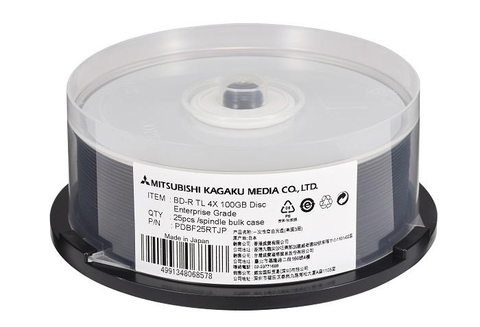 100年アーカイブ・長期保存用BD-R・25枚スピンドル・データ用100GB 6倍速・インクジェット対応・PDBF25RTJP