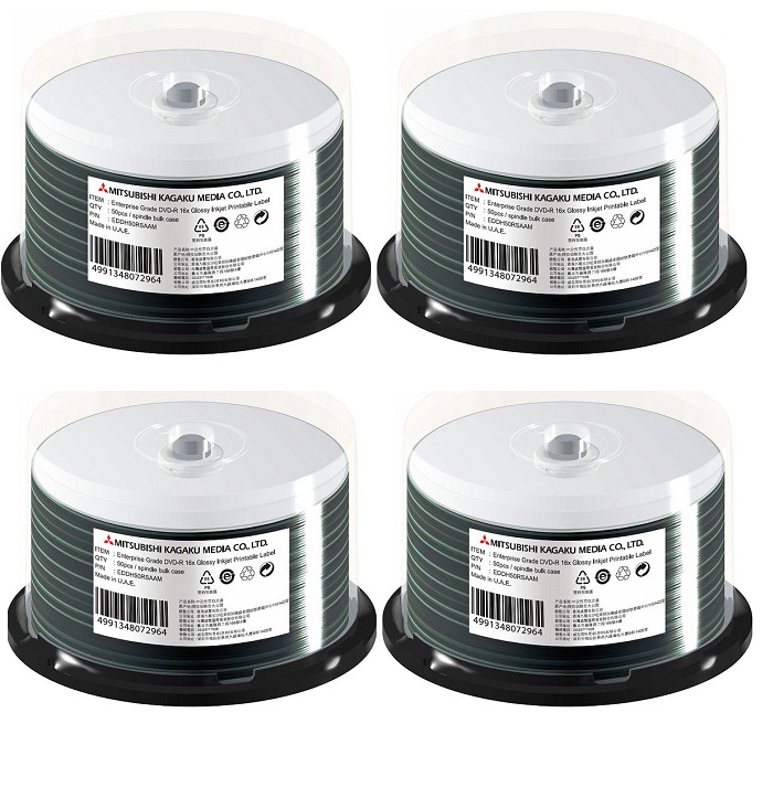 エプソン認定品同等DVD-R・200枚(4スピンドル)・データ用 4.7GB 16倍速・光沢耐水レーベル・アクアエース(インクジェット対応)・EDDH50RSAAM