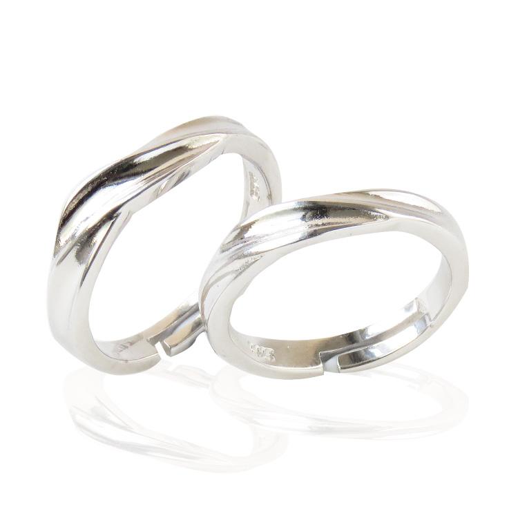 フリーサイズなのでサイズを間違えにくい シルバー925メッキなので格安お得 ペアリング プロポーズリング フリーサイズ ウェーブ 波 ジルコニア スピード対応 全国送料無料 シルバー925メッキ 指輪 重ね付け 激安 激安特価 送料無料 ペアルック レディース ギフト メール便で送料無料 カップル メンズ 結婚指輪 プレゼント 2個セット