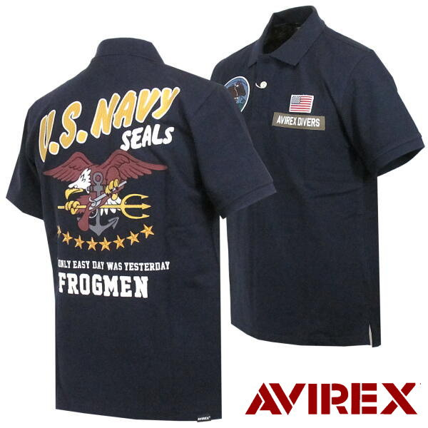 Red-throated loon Rex AVIREX short sleeves polo shirt embroidery emblem  military design LITTLE CREEK M - XL 6193345
