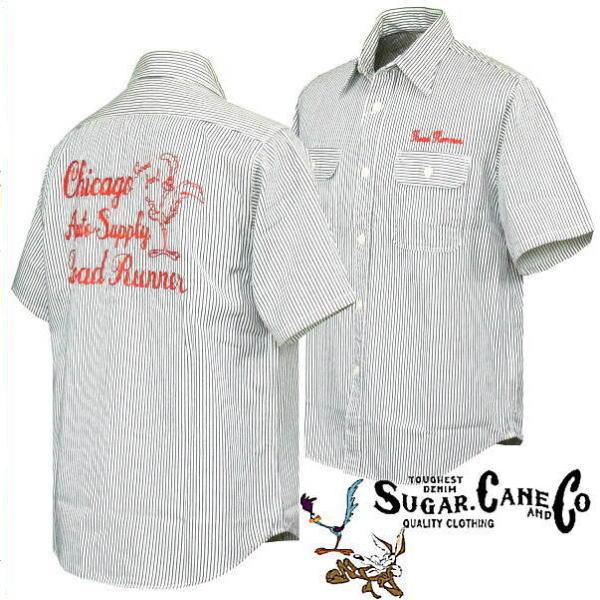 SUGAR CANE シュガーケーン × ロードランナー 刺繍 ヒッコリーストライプ ワークシャツ SC38457