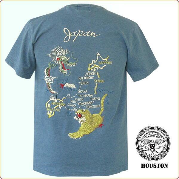 Qs Gate Embroidery Ska T Shirt Indigo Dyeing Indigo Dyeing