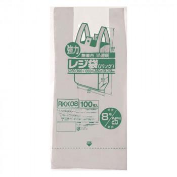 1年保証 送料無料 ジャパックス レジ袋 関東8号 RKK08 限定タイムセール 関西25号 半透明 100枚×20冊×4箱