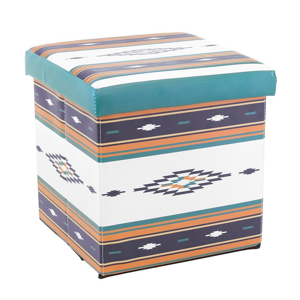 収納BOXスツール 人気急上昇 カルムオルテガ ターコイズ 18719860089 初売り 4560172106666