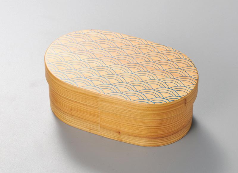 越前塗 青海波 日本の弁当箱 小判 1個 パール漆(スカイブルー)絵