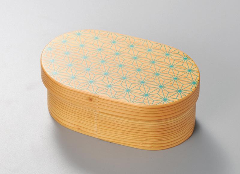 越前塗 麻の葉 日本の弁当箱 小判 1個 パール漆(スカイグリーン)絵