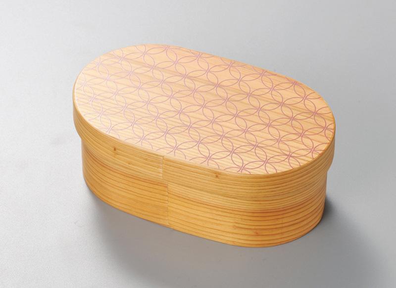 越前塗 七宝 日本の弁当箱 小判 1個 パール漆(ピンク)絵