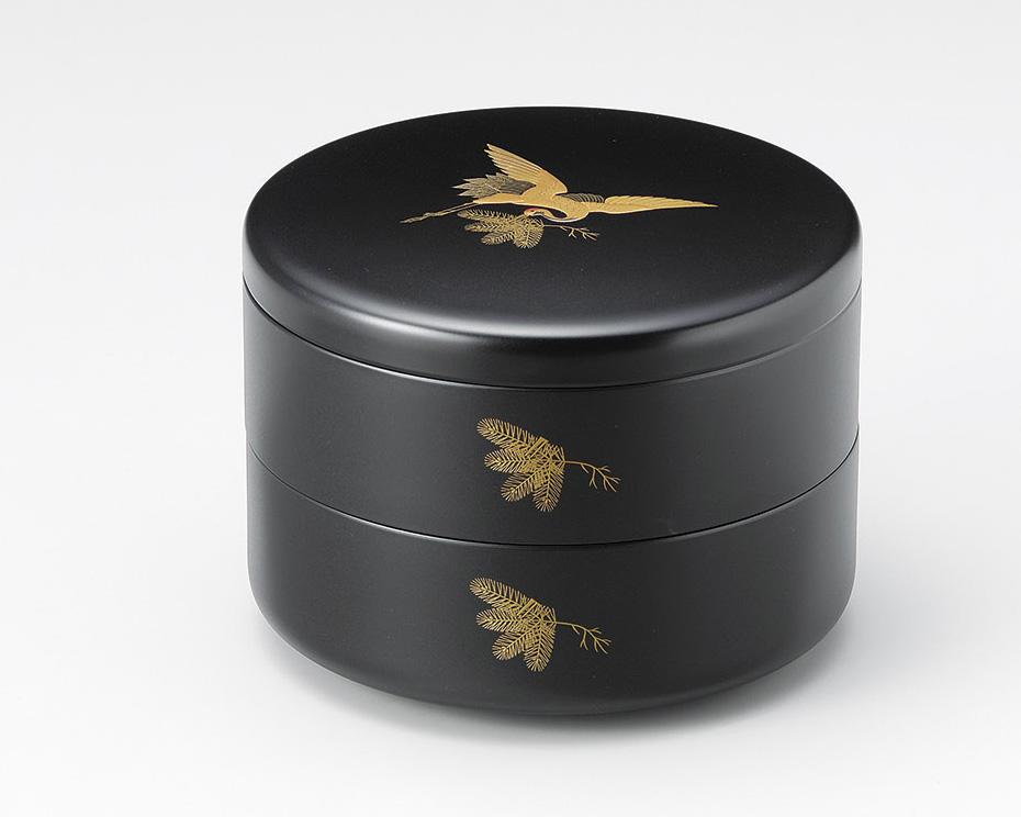 松くい鶴 丸二段重箱 黒