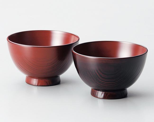 木製越前塗 栗夫婦汁椀 古代朱・溜【父の日 母の日 ペアギフト】