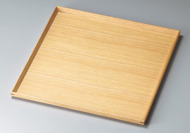 木製越前塗 白木塗タモ110角盆