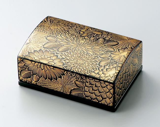 木製越前塗 沈金菊彫 名刺箱(小) 黒