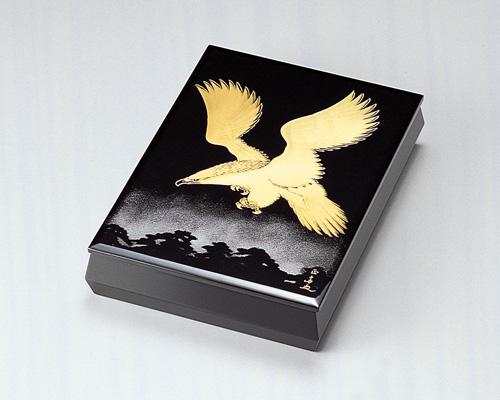 木製越前塗 松に鷹 文庫 A4サイズ 黒