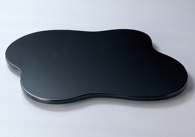 木製越前塗 雲型三つ足花台(大) 黒