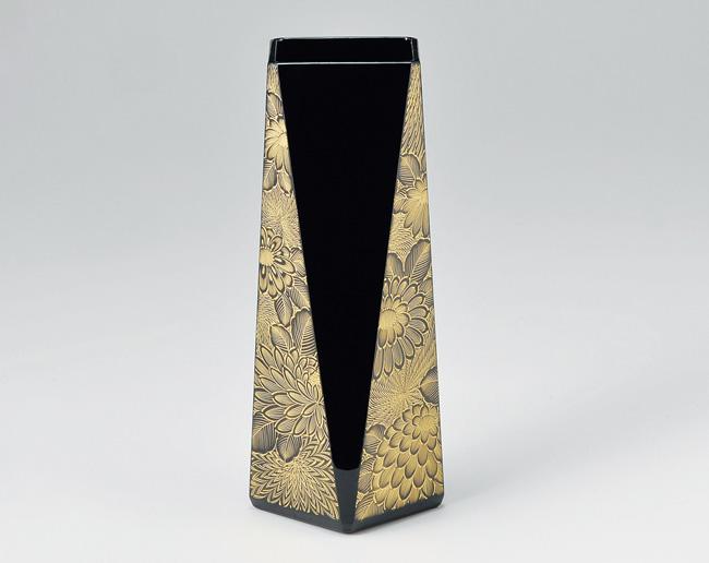 木製越前塗 菊彫 花器 黒